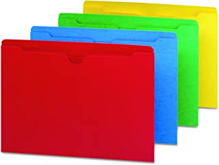 Smead File Jacket, Reinforced Straight-Cut Tab, Flat-No Expansion, Letter Size, Assorted Colors, 100 per Box (75613)