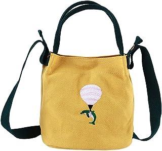 VWH Canvas Shoulder Bag Embroidery Bucket Bag Handbag for Women Girls Accessories(Yellow)
