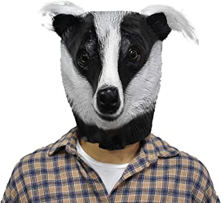 Badger Latex Mask Meles Realistic Animal Head Disguise for Halloween Party Costume Cosplay Prop Black