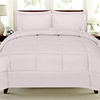 Sweet Home Collection 7 Piece Comforter Set Bag Solid Color All Season Soft Down Alternative Blanket & Luxurious Microfiber Bed Sheets, Queen, Pale Pink