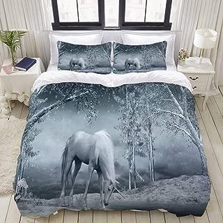 "Mokale Bedding Duvet Cover 3 Piece Set - Unicorn Near The Frozen River - Decorative Hotel Dorm Comforter Cover with 2 Pollow Shams - Full 80""x90"""