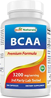 Best Naturals BCAA Branch Chain Amino Acid, 3200mg per Serving, 200 Capsules - Pharmaceutical Grade - 100% Pure Instantize...