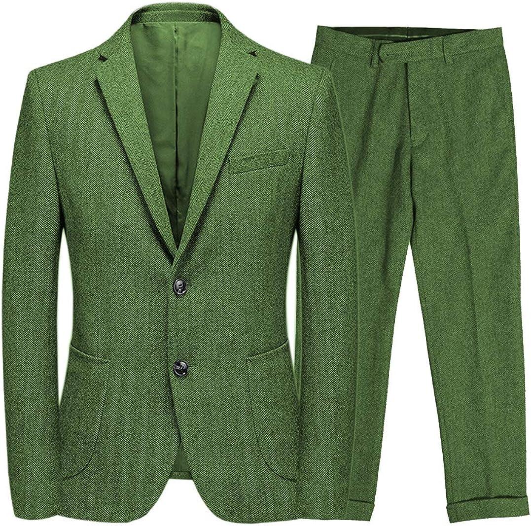 Men's 2 Piece Herringbone Pattern Men Suit Set Wool Tweed Wedding Formal Suit Tuxedos(Blazer+Pant)