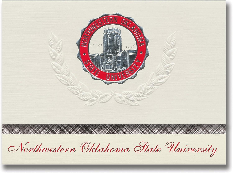 Signature Ankündigungen Northwestern Oklahoma State University Graduation Ankündigungen, platin Stil, Elite Pack 20 mit Northwestern Oklahoma State u. Dichtung Folie B0793MH4G2  | Ausgezeichneter Wert