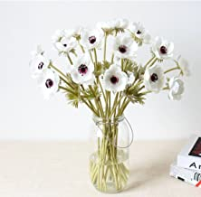 LebriTamFa 5Pcs Artifical Real Touch PU Anemone Flower Bouquet Room Home Decor (White)