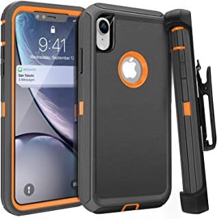FOGEEK iPhone XR Case, Belt Clip Holster Heavy Duty Kickstand Protective Cover [Dust-Proof] [Shockproof] Compatible for Apple iPhone XR [6.1 inch] (Dark Grey/Orange)