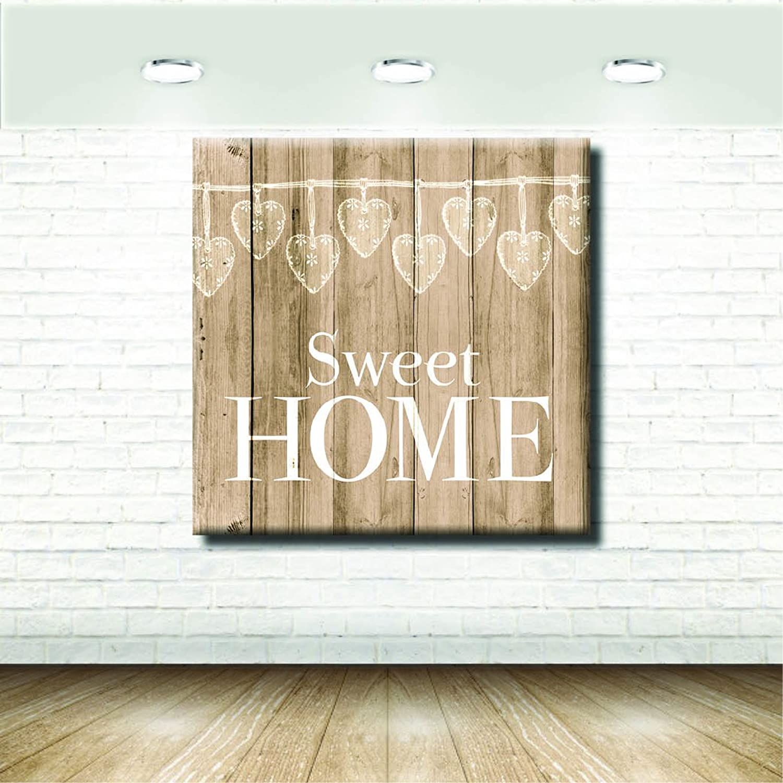 Stampepersonalizzate  - Imprimir en lienzo - Formato Canvas - Formato 120X120 Solo lienzo - Imprimir en calidad fotográfica - Pinturas Vendimia - Sweet Home Bianco Sfondo Legno