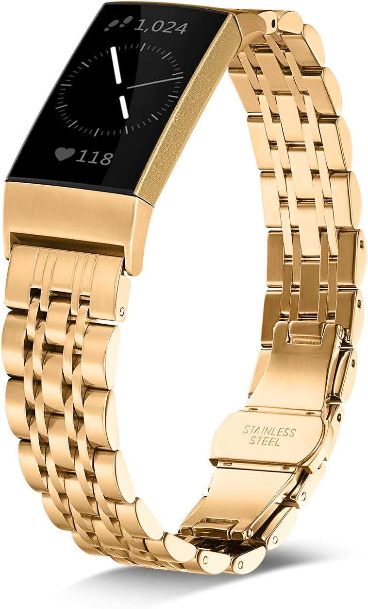 Shangpule Stainless Steel Bands Compatible for Fitbit Charge 4 / Fitbit Charge 3 / Fitbit Charge 3 SE, Replacement Metal Strap Wrist Band Accessories for Charge 3 Large Small (Gold)