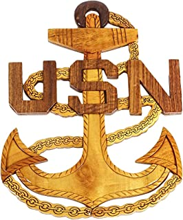 South Asia Trading Hand Carved Wood Art Intarsia USA US Navy Anchor Emblem Plaque (2602)
