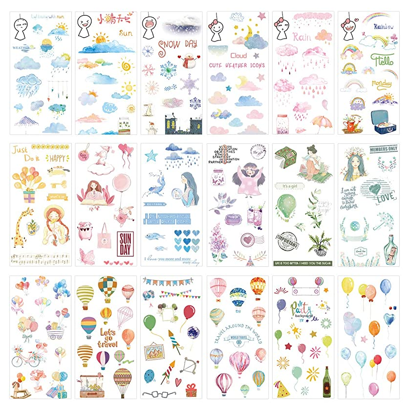 Kawaii Sticker Set (18 Sheets) Happy Girl Party Background Supply Colorful Travel Balloon Bike Weather Symbol Rainy Sunny Snowy Cloudy Rainbow DIY Stickers for Diary Planner Scrapbooking