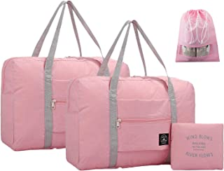 IBLUE 2 Pack Travel Foldable Duffel Bags Lightweight Gym Sports Luggage Tote With Shoe Bag, D1069 (pink)