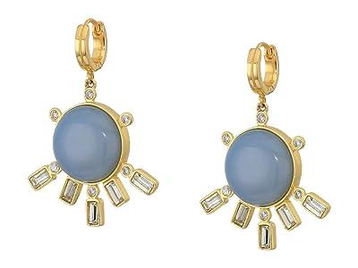 SOLE / SOCIETY Fanned Huggie Earrings (12K Soft Polish Gold/Crystal/Blue Lace Agate) Earring
