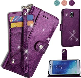 AYMECL Galaxy J7 2018 Wallet Case,Galaxy J7 V 2nd Gen/J7 Aero/J7 Refine/J7 Top Case[Glitter Sparkly Style] Leather Card Slots Case with ID and Credit Card Pockets for Galaxy J7 2018-PT Purple