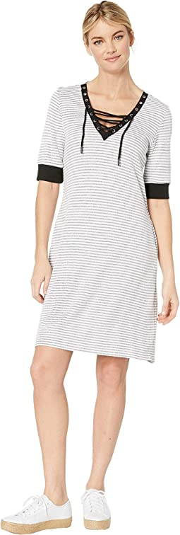 Stripe Knit Elbow Sleeve Lace-Up Dress