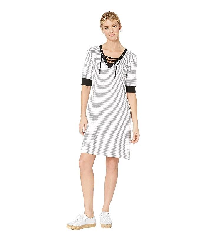 Tribal Stripe Knit Elbow Sleeve Lace-Up Dress (White) Women