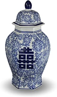 blue and white double happiness ginger jar