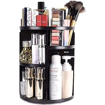 sanipoe 360 Rotating Makeup Organizer, DIY Adjustable Makeup Carousel Spinning Holder Storage Rack, Large Capacity Make up Caddy Shelf Cosmetics Organizer Box, Great for Countertop, Black