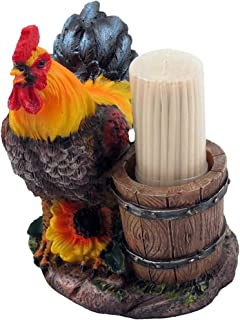 Farm Rooster and Old Fashioned Water Pail Toothpick Holder Set Figurine in Country Kitchen or Bar Chicken Decor, Sculptures and Statuettes and Rustic Gifts for Farmers