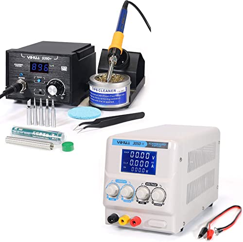 discount The new arrival Reliable 939D+ Soldering Station Bundled with YIHUA 305D-IV Regulated DC Lab Power Supply with Holder, Soldering lowest Cleaning Kit, and Accessories (14 Items) outlet online sale