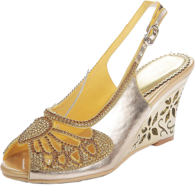 LizForm Women Peep Toe Wedding Pumps Rhinestone Cutout Evening Dress Sandal Wedge Heels