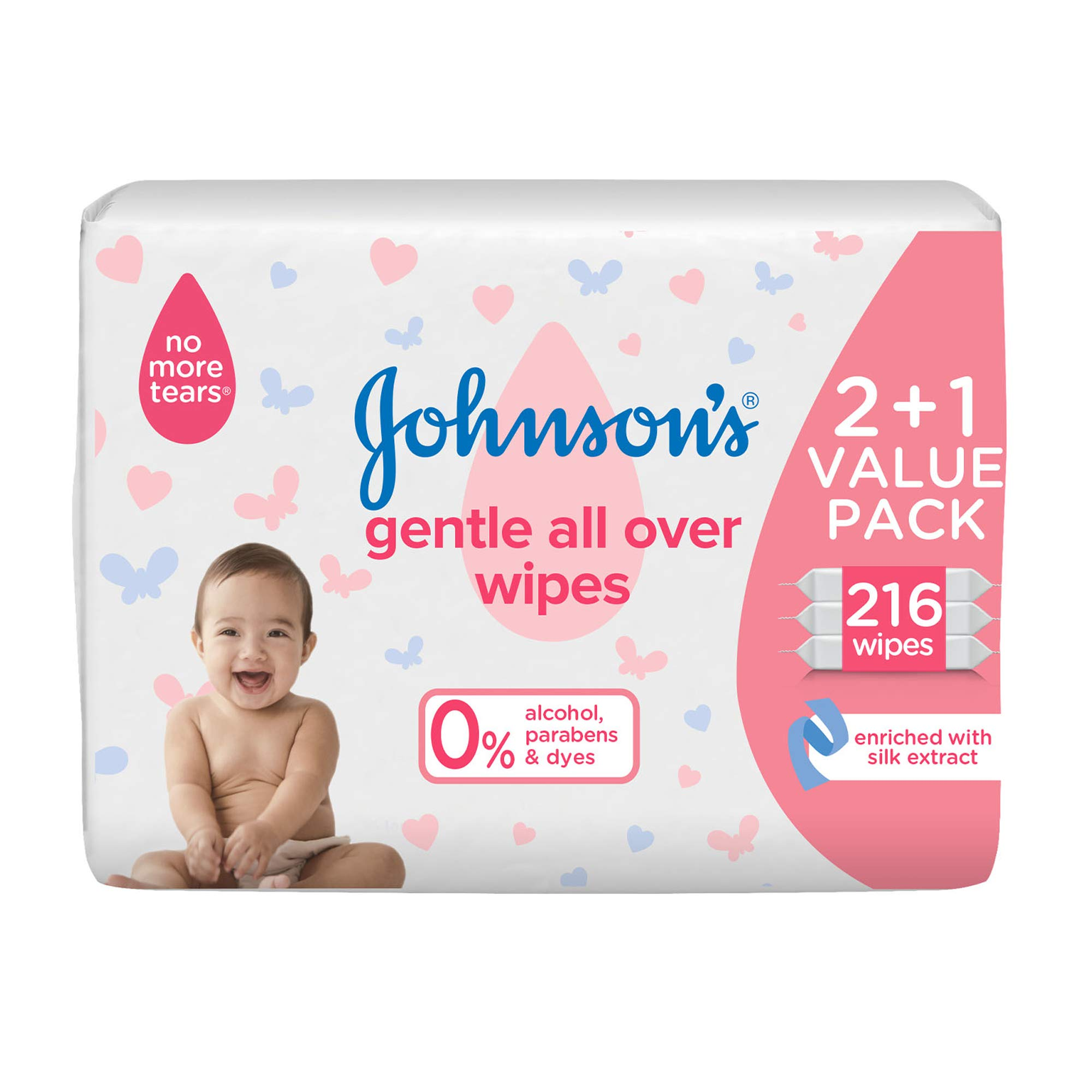 JOHNSON'S Baby Wipes - Gentle All Over, 216 total count