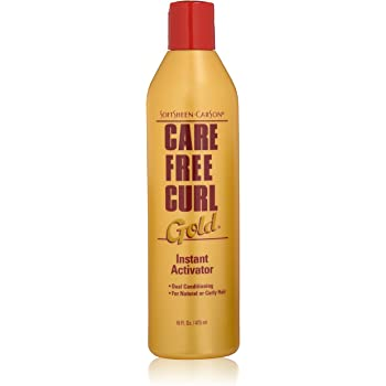 Curly Hair Products by SoftSheen-Carson Care Free Curl Gold Instant Activator, for Natural and Curly Hair, Softens and Hydrates, Moisturizes Hair and Great for Easy Combing, 16 floz
