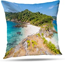 Tyfuty Sea-Wave Throw Pillow Covers, PillowcasesTropical White Sand Beach and Island Andaman Sea Indian Ocean Cushion Use for Living Room Bedroom Sofa Office 18 x 18 inch