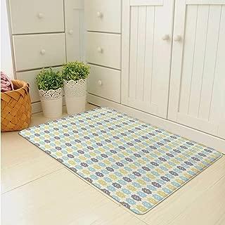C COABALLA Moroccan Multi Function Floor Mat,Symmetrical Pattern with Henna Art Motifs Fresh Colors Retro Folkloric Decorative for Door,31