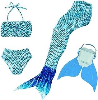 BESTYLING Sparkle Girl's Mermaid Tail for Swimming, Colorful Swimmable Princess Swimwear Bikini Set