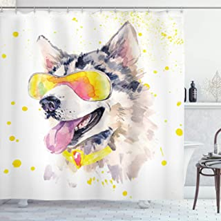 Ambesonne Animal Shower Curtain by, Funny Husky Dog with Sunglasses Humorous Cute Watercolor Cool Puppy Picture, Fabric Bathroom Decor Set with Hooks, 70 Inches, Yellow Grey Beige