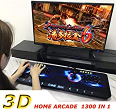 Plug and Play Game Machine 1300 in 1 Home Arcade Console Pandora Box 6 Retro Video Game Emulator Console 8 Button Metal 1080P Full HD Double Player Colorful Light PC/PS 2 Stick Support add 3D Game