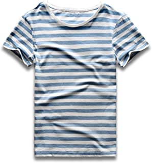 Striped T Shirt for Men Crew Neck Tee Stripe Slim Fit Cotton Top Male Casual