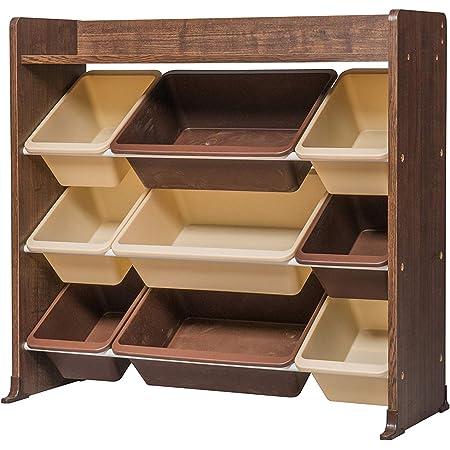 Iris Ohyama Kids Toy Rack TKTHR-39 Meuble de Rangement à Jouets pour Enfants, 1 étagère/9 boîtes Amovibles, Engineered Wood, Chêne Brun, L86,3 x P34,8 x H79,8 cm