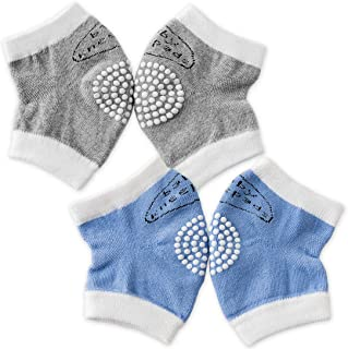 Baby Knee Pads for Crawling - Kalevel Baby Crawling Knee Pads Anti-Slip Elastic Knee Protectors Breathable Knee Sleeve Infant Toddler Elbow and Knee Pads for Babies 0-3 Years (2 Pairs, Grey + Blue)