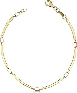 KoolJewelry 14k Yellow Gold Bar Link Bracelet for Women (1.8 mm, 7.25 inch)