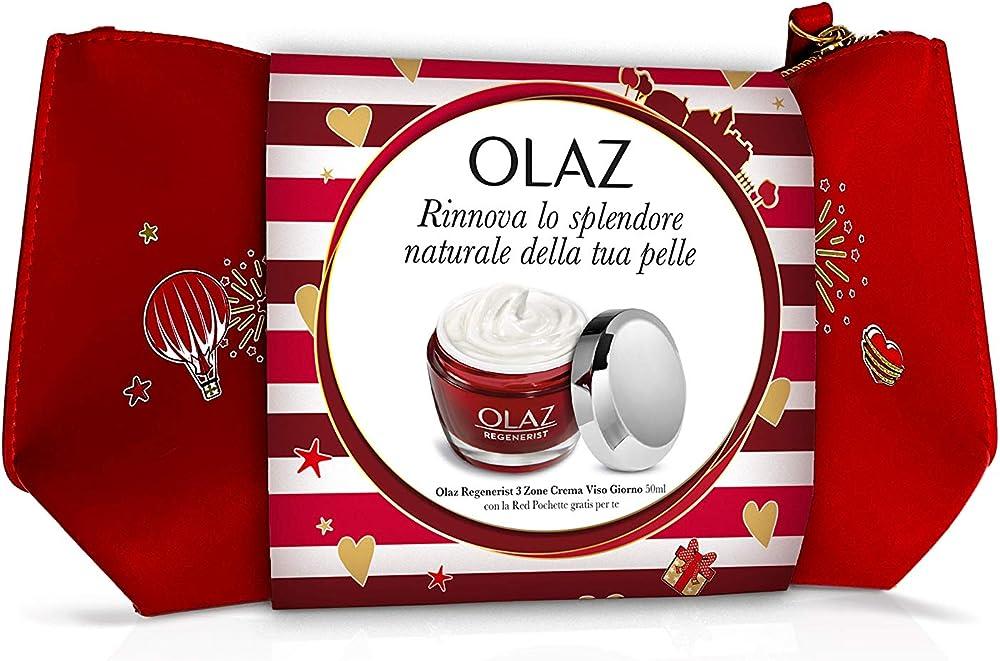 Olaz idea regalo regenerist 3 zone crema antirughe giorno 50 ml acido ialuronico piu` pochette in regalo 8006540141632
