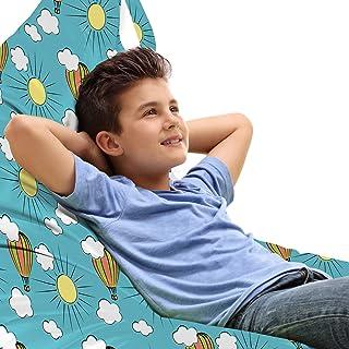 ABAKUHAUS Enfants Jouet Sac de Rangement Chaise Lounge, Air Balloon Soleil et Nuages, Stockage pour Animal en Peluche à Ha...