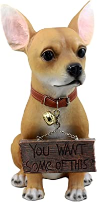 """Ebros Gift""""You Want Some of This"""" Feisty Chihuahua Dog Statue 12.5""""H Carefree Chimichanga Chihuahua Puppy Welcome Greeter Figurine"""