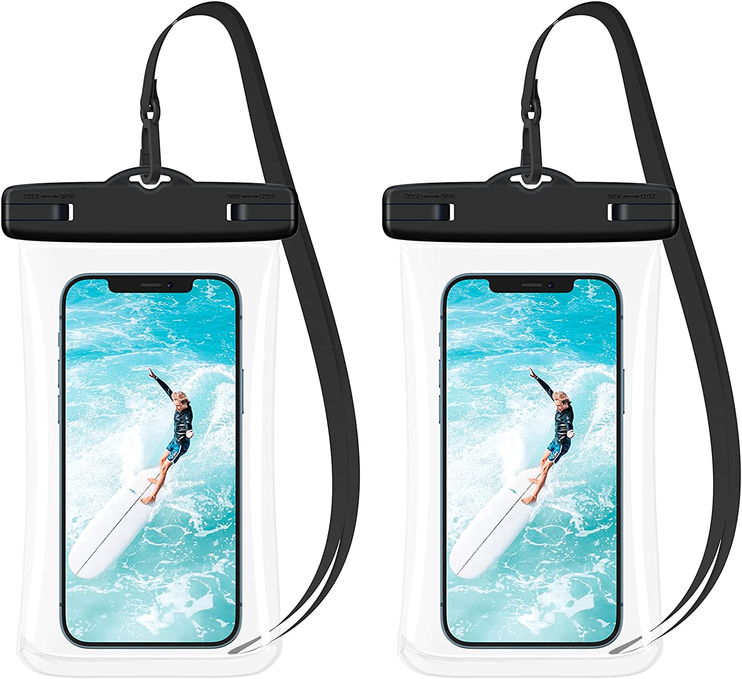 Ruky Universal Waterproof Phone Pouch, [2 Pack] Waterproof Phone Case Underwater Dry Bag for iPhone 12 Pro Max SE 11 Pro Max XS Max XR X 8 7 Plus Galaxy S21 S20 FE Google OnePlus Up to 7