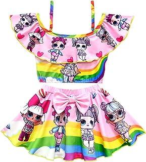 Girls Rainbow Swimsuit Two Pieces Bikini Set Ruffle Swimwear Bathing Suits