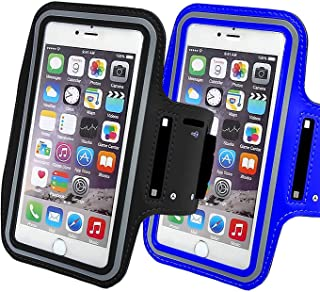 2Pack Universal Sports Armband Compatible with Phones iPhone X/8/7/6/XS/XR/Max/Plus,Samsung Galaxy S10/S9/S8/S7/Plus LG,Google More. Exercise Arm Holder,Running Fitness Gym Workouts-Black+darkblue