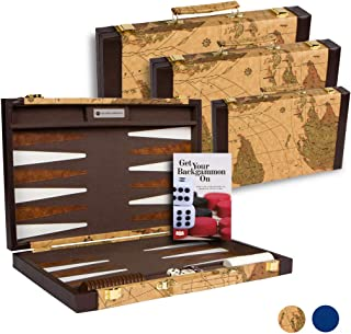 Get The Games Out Top Backgammon Set - Classic Board Game Case - Best Strategy & Tip Guide - Small Map Color