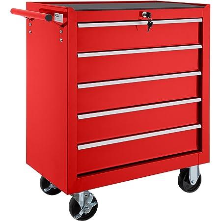 DURHAND Chariot datelier /à Outils Porte Outils de Travail avec Roues Verrou 3//étag/ères tiroir Rouge