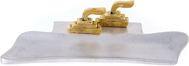 Handmade Solid Metal (Aluminum & Bronze), Desk Decorative Pen Holder or Pencil Holder, 2 Ships Design, 18x7 cm  7  x2.7''