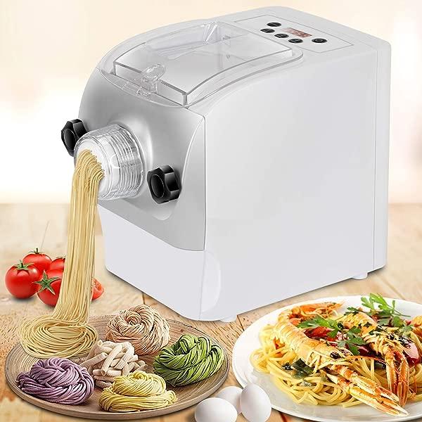 Electric Pasta Maker Automatic Noodle Machine Spaghetti Macaroni Fettuccine Lasagna Bonus Ravioli Sausage Maker With Mixes Kneads Extrudes