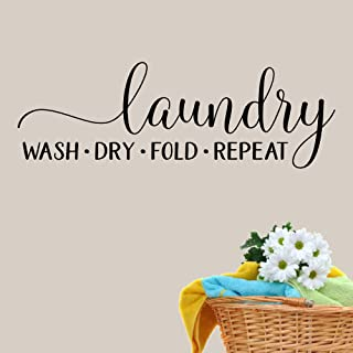 Laundry Wash Dry Fold Repeat Vinyl Wall Decal Sticker Removable black