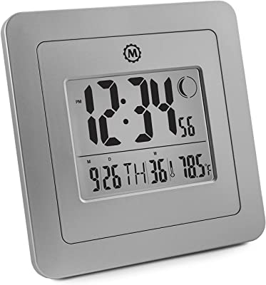 NEW ITEM SPECIAL INTRODUCTORY PRICE - CL030049-GG Digital Wall Clock with Day Date Week Number Temperature Alarm & Moon Phase. Graphite Grey - Batteries Included