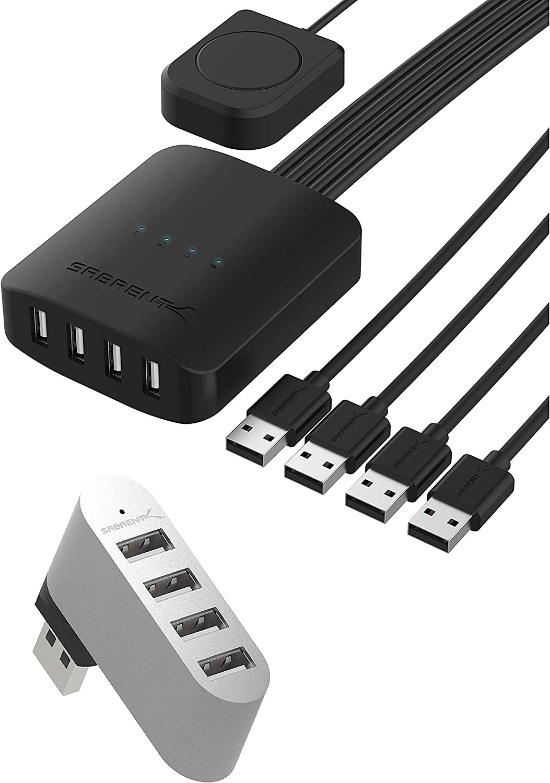 Sabrent USB 2.0 Sharing Switch up to 4 Computers and Peripherals LED Device Indicators + Premium 4 Port Aluminum Mini USB 2.0 Hub