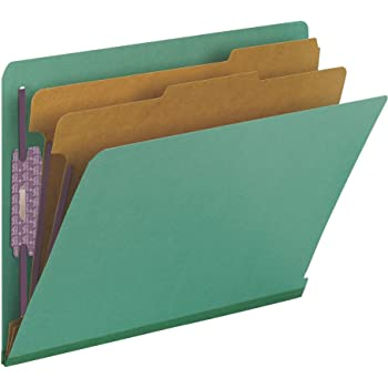 "Smead 100% Recycled End Tab Pressboard Classification File Folder with SafeSHIELD Fasteners, 2 Dividers, 2"" Expansion, Letter Size, Green, 10 per Box (26785)"