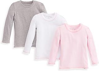 Burt's Bees Baby Girls Toddler T-Shirts, 3-Pack Short Long Sleeve V-Neck & Crewneck Tees